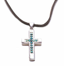 Traditional  Brown, Antique Bronze & Blue Stone Cross Pendant Necklace(Zx90/185)