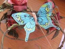 Swallowtail Feather Butterfly - Peacock Blue/Green - 8.0cm wingspan