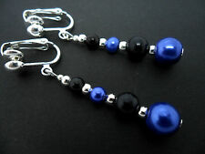 A PAIR OF DANGLY BLUE & BLACK GLASS PEARL  SILVER PLATED CLIP ON   EARRINGS.