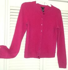 Only Mine S Deep Raspberry Pink Cashmere Cardigan Sweater Very Soft Ltwt