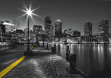 CITY RIVER EMBANKMENT Photo Wallpaper Wall Mural BLACK & WHITE 360x254cm HUGE!