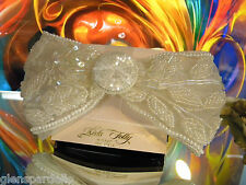 Kirks Folly Barrette LARGE ivory  PEARL LACE BRIDAL COMMUNION  BOW RB4  usa made