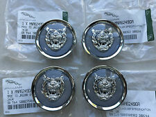 GENUINE JAGUAR GREY / SILVER ALLOY WHEEL CENTRE CAP BADGES NEW MNA6249GA NEW