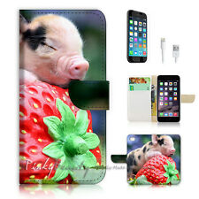 "iPhone 6 (4.7"") Print Flip Wallet Case Cover! Pig Sleep Strawberry P0521"