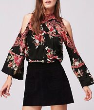 136580 New Free People Bain Bridge Printed Embroidered Cutout Black Blouse Top S