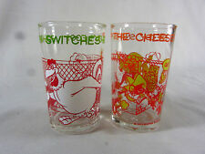 2 - 1974 Welch's Jelly Glass Foghorn Leghorn + Speedy Snaps Up Cheese - EX COND