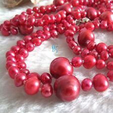 "52"" 4-11mm Red Freshwater Pearl Necklace Strand Fashion Jewelry"