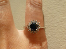 Vintage 18k white gold natural blue sapphire diamond halo engagement ring