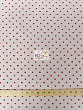SMALL POLKA DOT POLY COTTON PRINT FABRIC-White/Red-SOLD BTY POLYCOTTON - P93