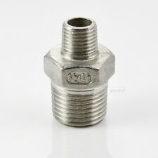 "1/2""x1/4"" Male Hex Nipple Threaded Reducer Pipe Fitting Stainless Steel 304 NPT"