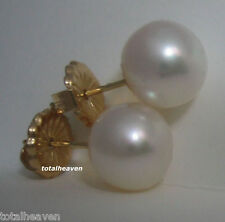 Solid 14k Yellow Gold 9mm AAA Fully Round Natural Cultured Pearl Stud Earrings