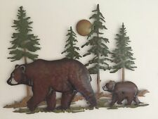 Woodland Northwood Bear Pine Tree Metal Wall Art Cabin Lodge Rustic Decor