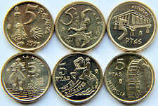 SPAIN JUAN CARLOS I SET OF 6 COINS 5 PESETAS FROM 1993 TO 1999 (MINT ROLL)