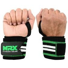 POWER WEIGHT LIFTING TRAINING WRIST SUPPORT WRAPS GYM BANDAGE STRAPS GRN WHT