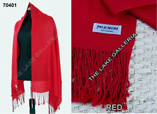 Plain Color RED 100% Pure Real Pashmina Cashmere Wool Shawl Wrap Scarf New