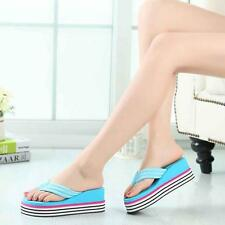 Blue Women Summer Shoes Heels Beach Sandals Wedge Platform Flip Flops Slipper 36