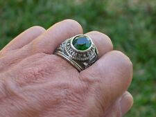 Stainless Steel United States Army Military May Green Emerald Men Ring Size 10