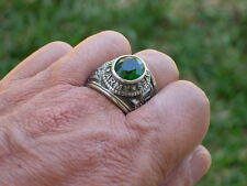 Stainless Steel United States Army Military May Green Emerald Men Ring Size 8