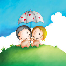 His/Her Birthday/any occasion Card Cupids couple shelter under hearts Umbrella