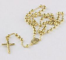 11.70 grams Solid 14k Yellow Gold Diamond Cut Beads 4mm Prayer Rosary 18""