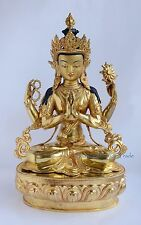"Gold Face Painted Fine Quality 19"" Chenrezig Buddha Copper Gold Gilded Statue"