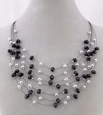 Layered Black And Silver Bead Necklace Sparkly Fashion Jewelry NEW
