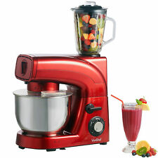 VonShef Stand Mixer Food Blender Meat Grinder Red 3 in 1 Smoothie Maker 1200W