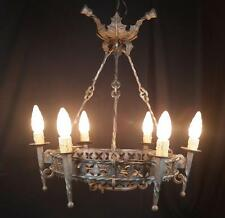 ANTIQUE WROUGHT IRON FRENCH CHANDELIER ART NOUVEAU SIGNED JEAN KEPPEL AMAZING