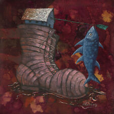 "CUBAN ART #109**PEREZ** HOUSE BOOT AND A FISH 36X36"" SIGNED ON CANVAS"