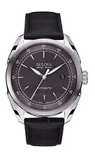 Bulova Accutron Men's 63B188 Accu Swiss Tellaro Automatic Black Leather Watch