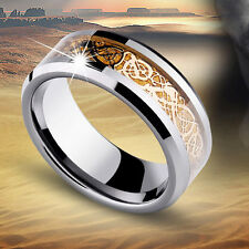 Celt Dragon Band Ring Men Gold Silver Black Stainless Steel Titanium Size 6-13