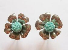 VINTAGE 50's SILVER TONE TURQUOISE BLUE CELLULOID ROSE BUD FLOWER EARRINGS