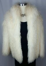 Mongolian Fur Coat Tibetan Shaggy Curly Lamb Sheep Oversized Jacket M L NWOT