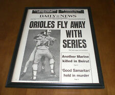 1983 ORIOLES FLY AWAY WITH WORLD SERIES FRAMED 11x14 NEWSPAPER PRINT