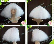 COS Wig New Wig  LADY GAGA White Wig Short Fluffy Wig Broom Head