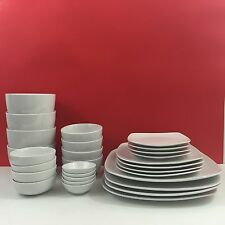 28pc White Elements Hampton Square Dinnerware Set