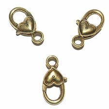 ML5108p Antiqued Gold Large 27x14mm Heart Design Lobster Claw Focal Clasp 10/pkg