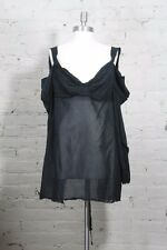 1990 Vivienne Westwood Apron Blouse Anglomania black cotton gauze tunic shirt 44