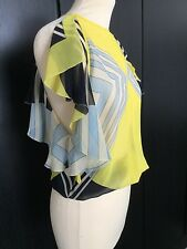 MISSONI YELLOW/NAVY/WHITE/BLUE STRIPED CHIFFON TOP - ICONIC ELASTICATED WAIST