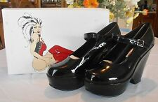 Femme Fetiche BLACK PATENT PLATFORM WEDGE MARY JANES Sz 11B Fetish Goth NEW NIB