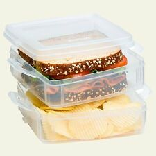 "Snapware Sandwich Food 2 Compartment Snap n' Snack-Seperate-6""X6""X3.5""-BPA Free"