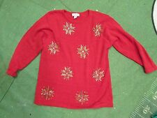 Vintage REALLY Ugly Christmas Sweater size 1X august max woman gold snowflakes