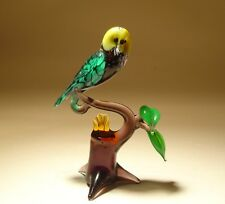 "Blown Glass ""Murano"" Art Figurine Bird Green OWL with Yellow Eyes on a Branch"