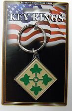 US ARMY 4TH INFANTRY DIVISION METAL KEY RING CHAIN KEYRING KEYCHAIN 1.5 INCHES