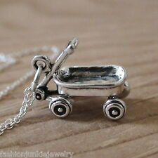 Little Red Wagon Necklace - 925 Sterling Silver - Wagon Charm Childhood Ride NEW