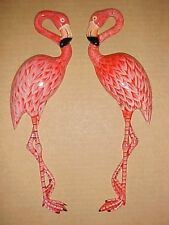 "2) 10"" FLAMINGOS Wall Decor Beach Tropical Bath Nursery Birds Ocean Nautical"