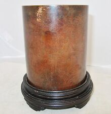 "5"" Antique ? Chinese Bronze or Copper Brush Pot Vase with Inlay Scens on Stand"
