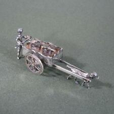 Antique Dutch Silver Miniature Toy of Man with Dog Pulling Cart, Movable Parts
