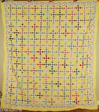 BEAUTIFUL 30's 9-Patch Postage Stamp Antique Quilt Top ~Vintage Novelty Prints!