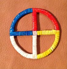 Very Awesome New Lakota Sioux Quilled Medicine Wheel Quilled On Rawhide